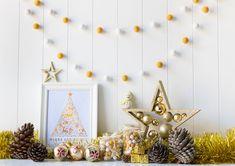 Gold Christmas Felt Ball Garland. Gold Pom Pom by TheFeltingDorcas