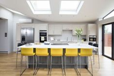 Kitchen Lighting Remodel A contemporary kitchen extension filled with light - After waiting more than a decade, one family took the plunge and remodelled the downstairs layout of their home to create a substantial kitchen extension. Kitchen Diner Extension, Open Plan Kitchen Diner, Open Plan Kitchen Living Room, Kitchen On A Budget, Kitchen Layout, Kitchen Colors, Dining Room, Kitchen Ceiling Lights, Kitchen Lighting