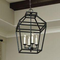 "Darlington 4-Light Pendant $180  Overall: 24 3/4""H X 15"" Square Ceiling Canopy: 5"" Diameter Chain: 6'L Ballard Designs"