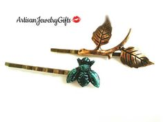 Hey, I found this really awesome Etsy listing at https://www.etsy.com/listing/572274822/patina-bee-branch-bobby-pin-set-woodland