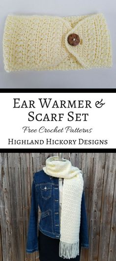 Free patterns for crochet winter wear for women. The Clusters and Stripes Ear Warmer Headband is adjustable, thick and warm to cover your ears when chilly. Don't forget to crochet the matching scarf for a complete set!