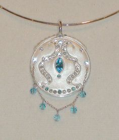 Swarovski Aquamarine and Diamond Crystal Clay by JLSjewelry, $110.00
