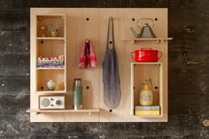 Two former Wieden + Kennedy employees have developed a modular shelving system that intends to save space and add design-y details to the home. Wood Furniture, Furniture Design, Ladder Shelf Diy, Bathroom Wall Shelves, Shelf System, Modular Shelving, Multifunctional Furniture, Shop Fittings, Shelf Design