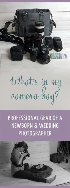 Professional photography gear - tips and tools. This is what a actual photographer uses. Professional Photography Cameras, Good Photography Cameras, Wedding Photography Lenses, Wedding Photography With Kids, Professional Cameras, Photography Bags, Learn Photography, Photography Business, Photography Equipment