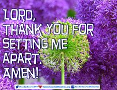 Lord, Thank You for setting me apart. Amen!