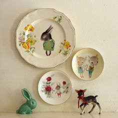 Truly Lovely Bunny Boy With Roses Vintage Illustrated Plate. $28.00, via Etsy.