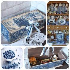 `Синие чайники` короб для кухни. Большой короб для кухни или чаепития. 3 отделения.