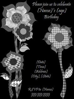 Black Flower Birthday Party Invitation http://www.invitationtemplates.org/black-flower-birthday-party-invitation