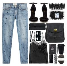 """""""off 432"""" by juuliap ❤ liked on Polyvore featuring Current/Elliott, Yves Saint Laurent, Fleur du Mal, Chanel, Aspinal of London, NARS Cosmetics, Fountain, Pelle and NuMe"""
