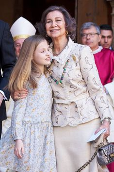 Queen Sofia looked stylish in a coordinating cream blouse and skirt, while Princess Leonor of Spain wore a flower-embellished shirt dress as they attend the Easter mass-2018 in Palma de Mallorca, Spain.
