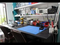 Here is my new electronics workbench.The table and the rack design has been done without using the wall support. I need a speed way of doing my work, The arr...