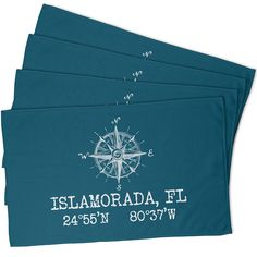 Custom Compass Rose Coordinates Hand Towel - Turquoise (Set of 4)