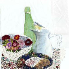 Textielcollages van Marieke Smink Little Stitch, Textiles, Wool, Painting, Inspiration, Art, Kunst, Biblical Inspiration, Painting Art