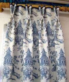 toile panels with short double pleat & velvet piping at top of header