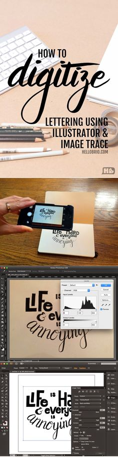 How to digitize your hand lettering using illustrator's image trace. Tips & tricks for designers using Adobe Illustrator for hand lettered typography Web Design, Graphic Design Tutorials, Tool Design, Design Process, How To Design, Vector Design, Design Trends, Typography Inspiration, Graphic Design Inspiration