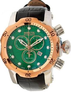 Invicta Men's 10812 Venom Reserve Chronograph Green Textured Dial Black Leather Watch Invicta. $285.99. Flame-fusion crystal; stainless steel case; black leather strap with reptile pattern. Chronograph functions with 60 second, 30 minute and 1/10th of a second subdials with rose gold tone hands; date window at 4:00. Green textured dial with rose gold tone and white hands and hour markers; luminous; unidirectional 18k rose gold ion-plated stainless steel bezel; screw-do...