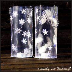 Zimní lampiónek - Winter feather lantern Kids Crafts, Lanterns, Feather, Winter, Winter Time, Quill, Feathers, Lantern, Furs