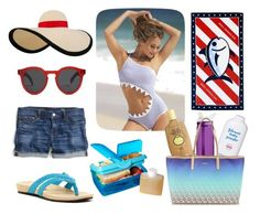 Hit the beach with Lola! by bearpawstyle on Polyvore featuring J.Crew, Bearpaw, DKNY, Eugenia Kim, Illesteva, Sun Bum, Southern Tide, Sistema and Johnson's Baby