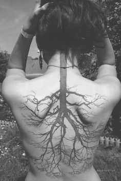 upside down tree tattoo... Cool concept!