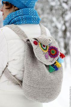 """Купить Рюкзак вязаный """"Переплетение сил"""" в бохо, этно стиле - серый, вязаный рюкзак"""