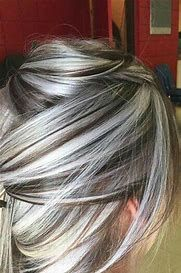 Image result for grey silver highlights for natural african american hair