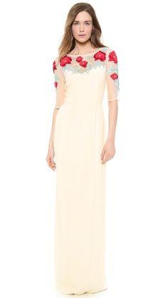 Temperley London Длинное платье с вышивкой в виде магнолий
