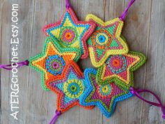COLOR YOUR CHRISTMAS!    Set of 6 crochet Christmas stars in the sparkling colors fuchsia, apple, turquoise, mandarine, yellow, green, jade,