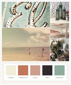 Wedding Color Pallets   stunning vintage elegant shabby chic  sea foam green orange cream rose pink   very charming  muted jewel tones