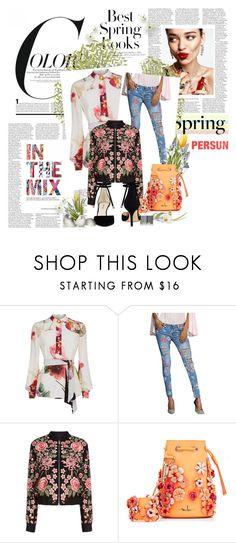 """Print dress"" by kristina779 ❤ liked on Polyvore featuring KAROLINA, Lanvin, Needle & Thread, Marina Hoermanseder, Nine West and H&M"