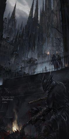 Bloodborne, The Healing Church art fantasy Dark Fantasy Art, Fantasy City, Fantasy Artwork, Fantasy World, Dark Art, Anime Fantasy, Art Dark Souls, Bloodborne Art, Bloodborne Concept Art