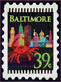 Baltimore skyline. A stamp quilt by Debra Gabel at Zebra Patterns
