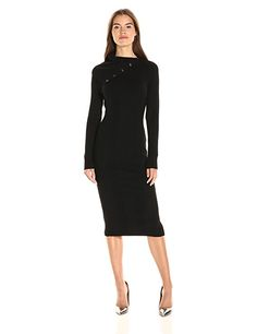 Guess Women's Long Sleeve Zeze Funnel Neck Sweater Dress at Amazon Women's Clothing store: