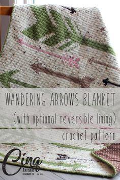 Wandering Arrows Lined Baby Blanket Crochet Pattern and Chart Crochet Blanket Patterns, Baby Blanket Crochet, Crochet Baby, Knitting Patterns, Crochet Afghans, Crochet Blankets, Baby Blankets, Crochet Ideas, Crochet Squares