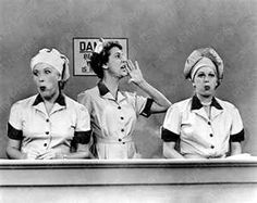 PHOTO: I LOVE LUCY episode, Job Switching, featuring (from left) Vivian Vance (as Ethel Mertz), Elvia Allman (as the Forewoman) and Lucille Ball (as Lucy Ricardo) broadcasted, Sept. I Love Lucy Show, My Love, I Love Lucy Dolls, Best Tv Shows, Favorite Tv Shows, Favorite Things, I Love Lucy Episodes, Vivian Vance, Desi Arnaz