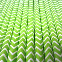 25 Lime Green Chevron Stripe Paper Straws  by CharmiosCraftParty, $3.95
