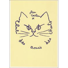 By Jean Cocteau, Club des amis des chats. (Friends of the cats club) Art And Illustration, Illustrations, Crazy Cat Lady, Crazy Cats, Jean Cocteau, I Love Cats, Cat Art, Cats And Kittens, Sketches