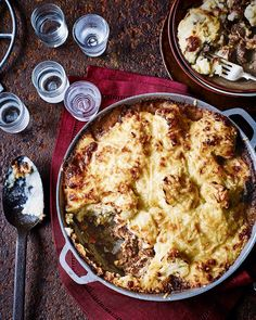 Tender, melt-in-your-mouth beef topped with cheesy, cauliflower and potato mash is the most comforting of pies. This recipe was made for eating in front of the fire, alongside a glass of red wine.