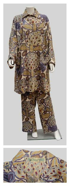 Paul Poiret Rare set of male beach pyjamas, jacket and pants linen block printed with a pattern of artichokes in green and purple tones. The jacket presents belt loops but no belt. Pockets and collar are decorated with a purple button. Circa 1912 Musee des Arts Decoratifs in Paris retains a sample of this pattern (Inv. 2005.37.13.2) realized by Atelier Martine. drouotlive.com