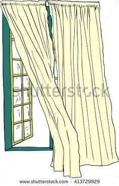 Front view on isolated hand drawn illustration of open casement window with blowing curtains Curtain Drawing, Casement Windows, Hand Drawn, How To Draw Hands, Curtains, Illustration, Home Decor, Blinds, Decoration Home