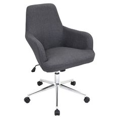 """Lumisource Degree Office Chair Grey in Grey. Durable fabric upholstery keeps you both stylish and comfortable while you work.  The Degree Office Chair offers a  padded seat & backrest, adjustable height, adjustable tilt & tension, and swivels 360 degrees. It sits atop a sturdy 5-point metal base and casters for mobility.  Product Dims:     26""""L x 24""""W x 34-37.5""""H  Seat Dimensions:  17""""L x 18""""W x 20""""H  Seat Back Height:  18""""  Seat to Floor Adjustable height:   18"""" to..."""