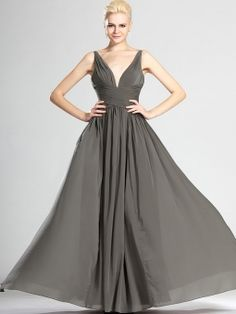 A-line V-neck Chiffon Floor-length Pleats Evening Dresses