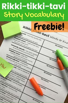 "FREE vocabulary activity for ""Rikki-tikki-tavi,"" perfect to begin your middle school short story unit! Use for homework, an interactive notebook, a class test review, or partner work. Improve reading comprehension with this free printable! (6th, 7th, or 8th grade) #middleschool #reading #shortstory #rikkitikkitavi #vocabulary #sentencewriting #teacherspayteachers"