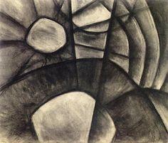 Arthur Dove Sun on Water Drawing charcoal 30x25 Wall Art Canvas Print Unframed