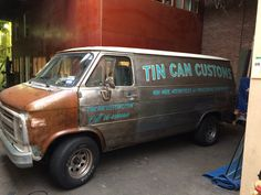 Tin Can Customs truck lettered in my workshop.