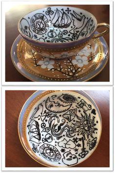 DIY Fortune Telling tea cup. Oil-based black sharpie free-handed on vintage lusterware tea cup.