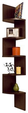 Laminated Veneer Corner Wall-Mount Shelf, Walnut - contemporary - Display And Wall Shelves - Danya B