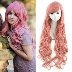 Best Sales Top quality extra long Pink curly Haifa Wehbe Wig Ladies 34 Wig Long curly Synthetic Hair Half Wig