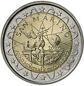 This 2005 2-euro commemorative coin from San Marino highlighted the declaration of 2005 as World Physics Year, a worldwide celebration of physics (http://www.physics2005.org).