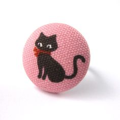 Cat Ring  Pink and Brown Cat Fabric Covered Button by MelissaAbram, $6.25