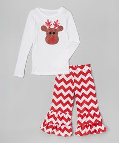 This Beary Basics White & Red Reindeer Tee & Pants - Infant, Toddler & Girls by Beary Basics is perfect! #zulilyfinds